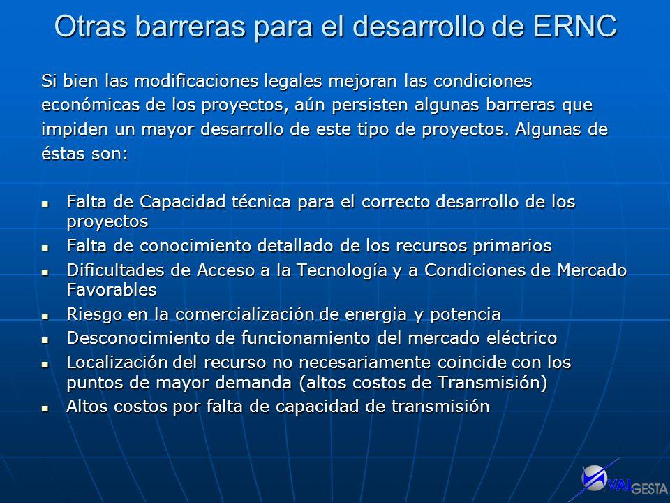 Otras barreras para el desarrollo de ERNC