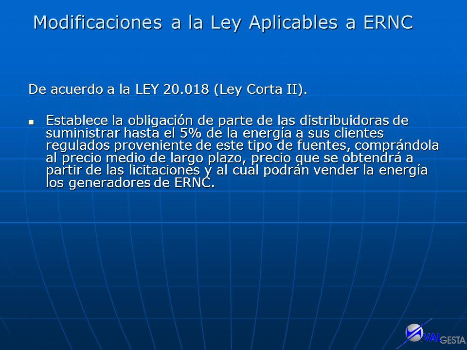 Modificaciones a la Ley Aplicables a ERNC
