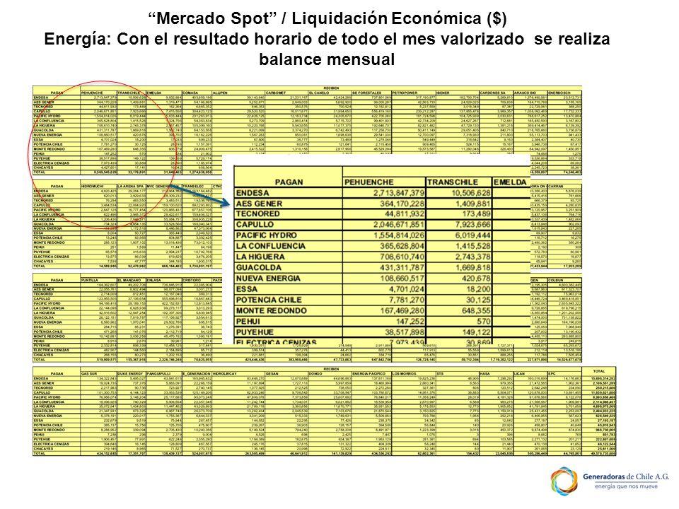Mercado Spot / Liquidación Económica ($)