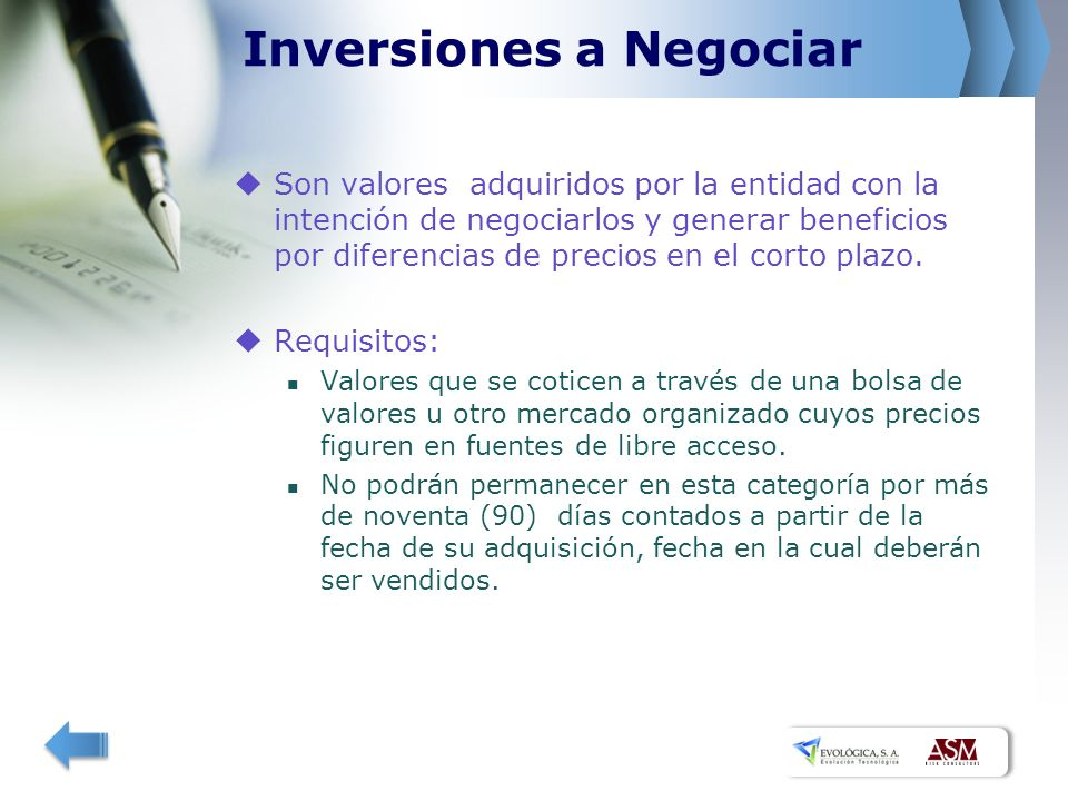 Inversiones a Negociar