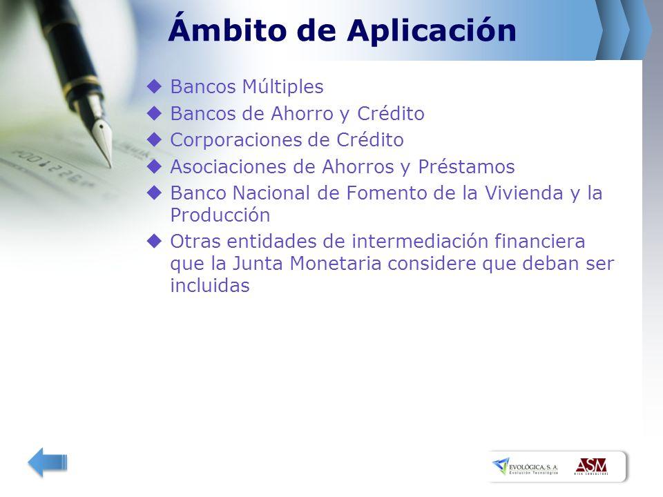 Ámbito de Aplicación Bancos Múltiples Bancos de Ahorro y Crédito