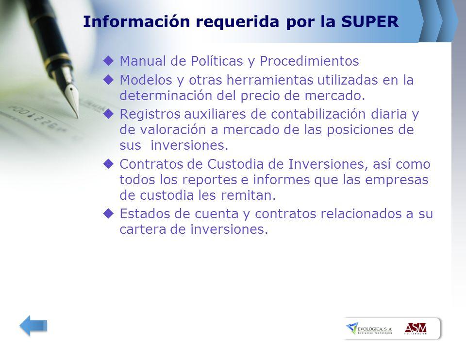 Información requerida por la SUPER