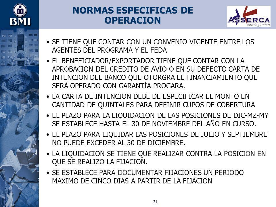 NORMAS ESPECIFICAS DE OPERACION