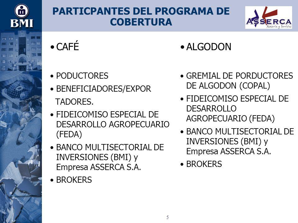 PARTICPANTES DEL PROGRAMA DE COBERTURA