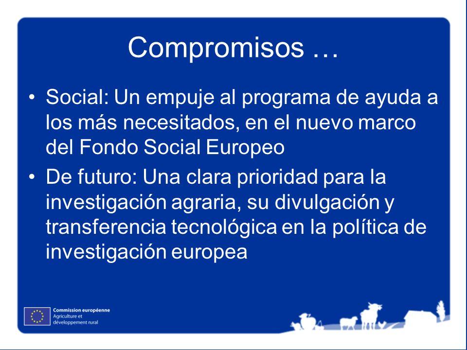 Compromisos …Social: Un empuje al programa de ayuda a los más necesitados, en el nuevo marco del Fondo Social Europeo.