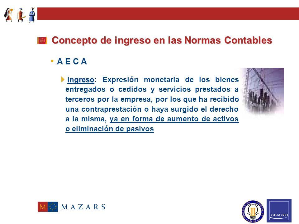 Concepto de ingreso en las Normas Contables