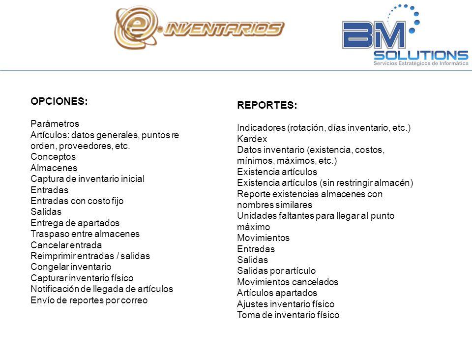 OPCIONES: REPORTES: Parámetros