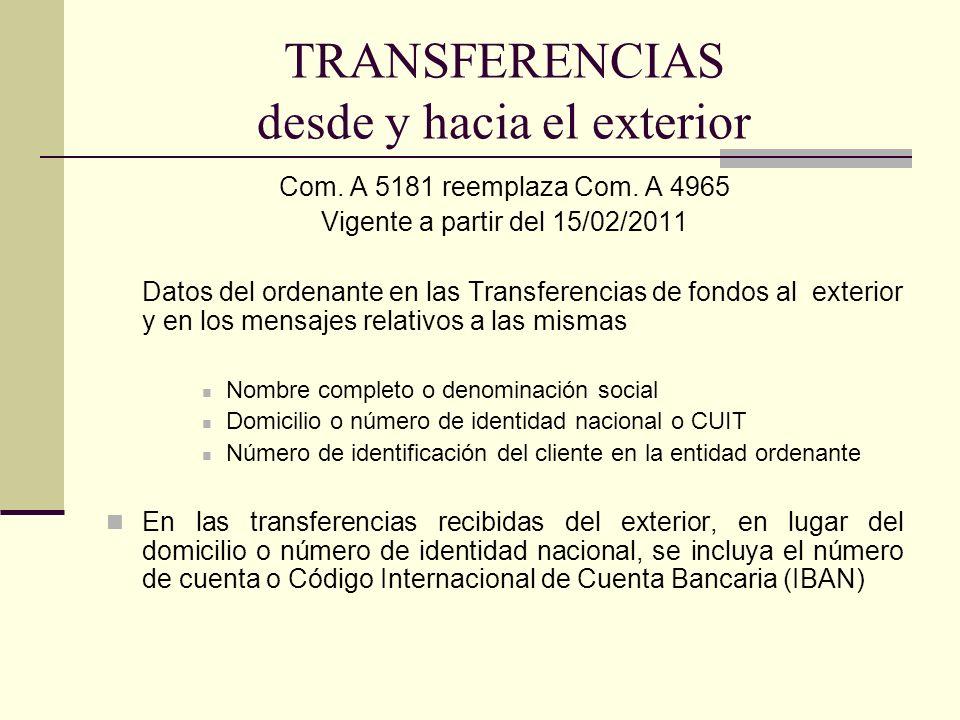TRANSFERENCIAS desde y hacia el exterior