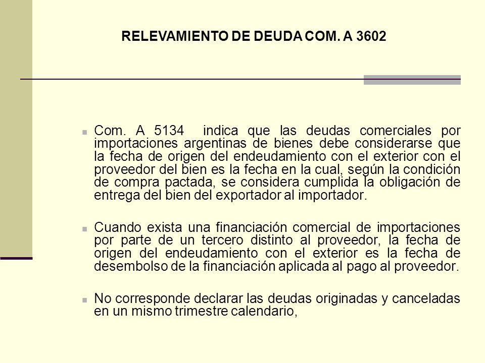 RELEVAMIENTO DE DEUDA COM. A 3602