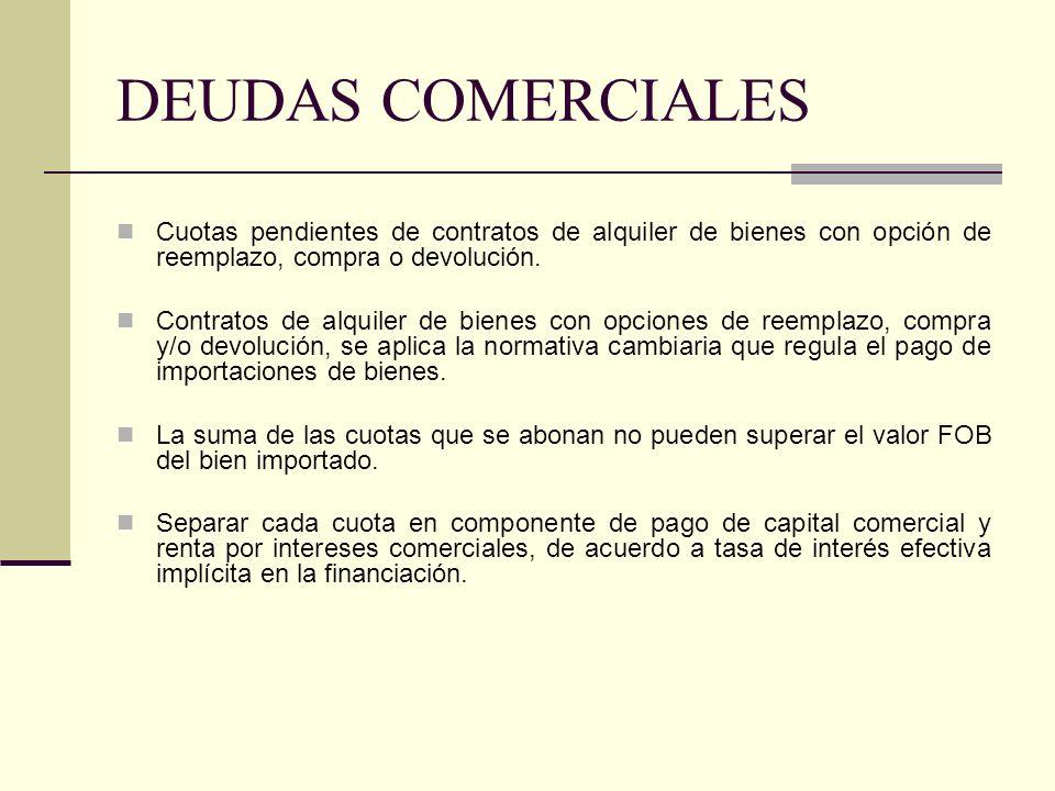 DEUDAS COMERCIALESCuotas pendientes de contratos de alquiler de bienes con opción de reemplazo, compra o devolución.