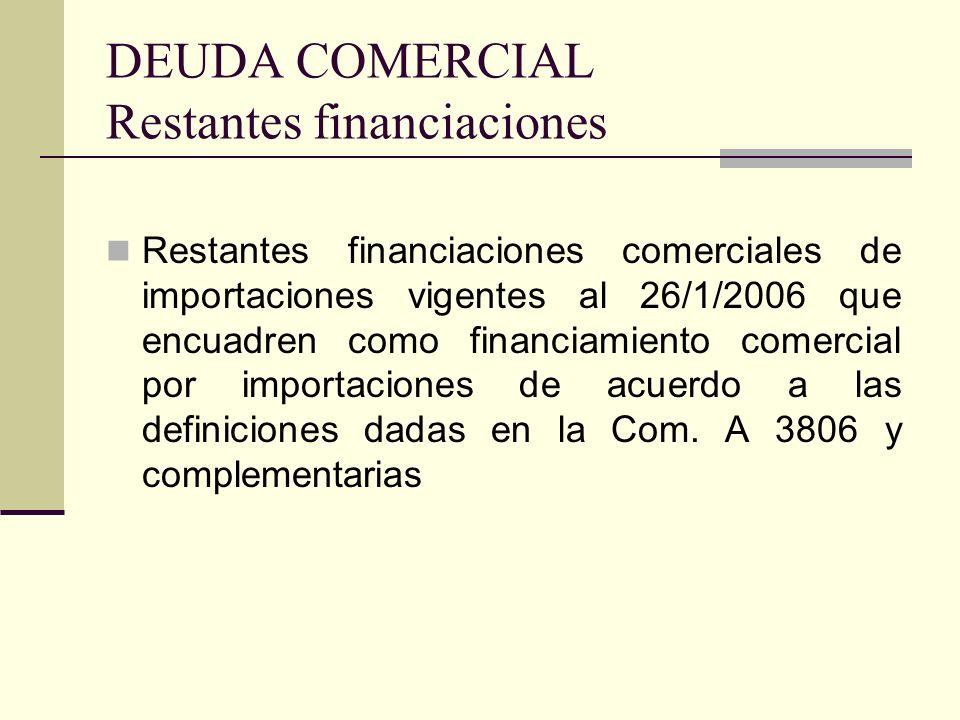 DEUDA COMERCIAL Restantes financiaciones