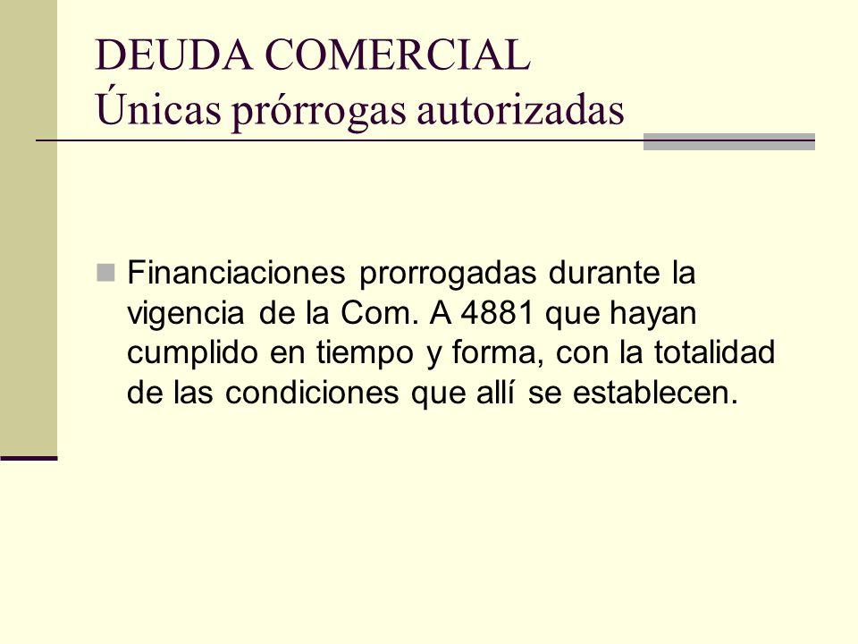 DEUDA COMERCIAL Únicas prórrogas autorizadas