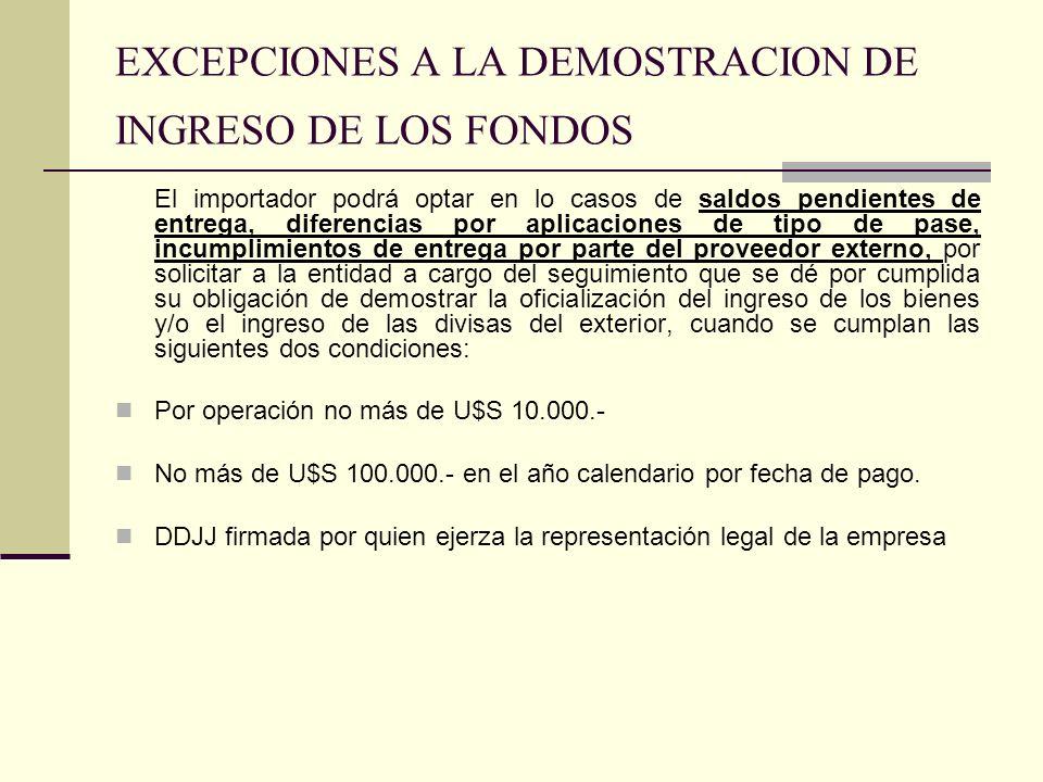 EXCEPCIONES A LA DEMOSTRACION DE INGRESO DE LOS FONDOS
