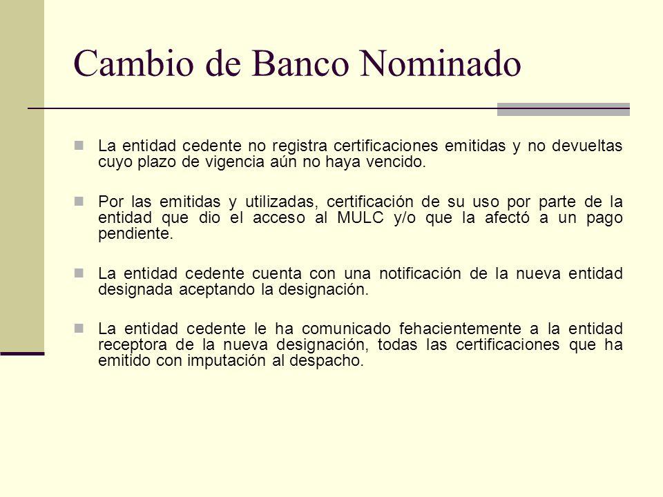 Cambio de Banco Nominado