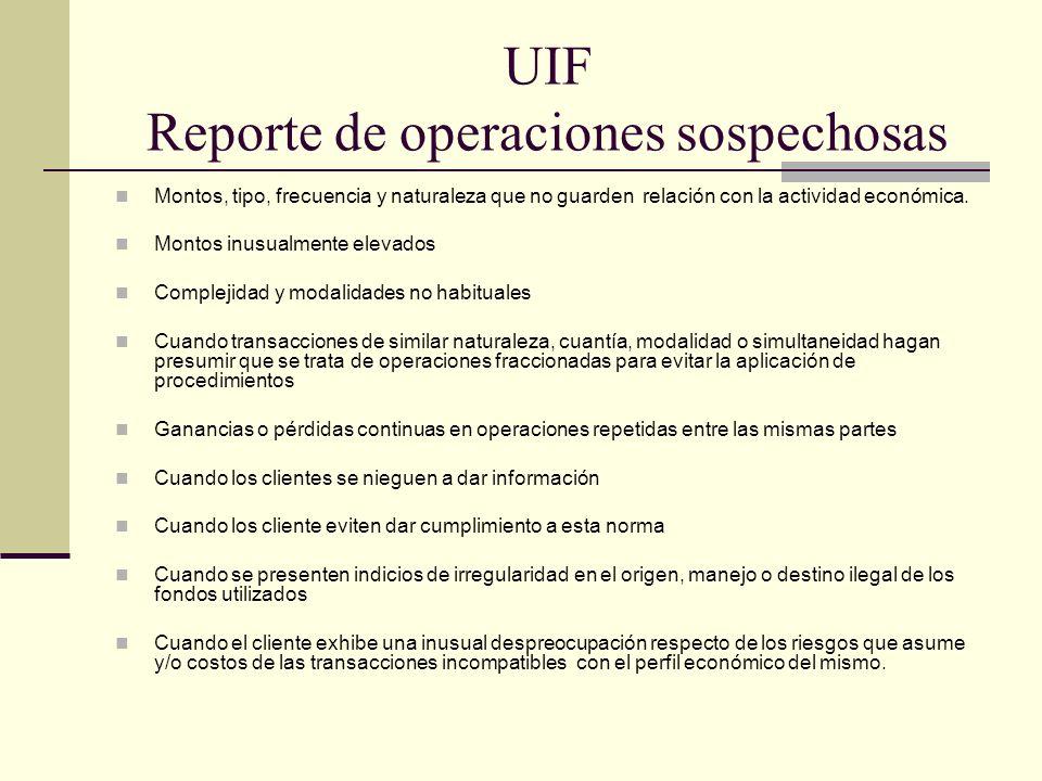 UIF Reporte de operaciones sospechosas