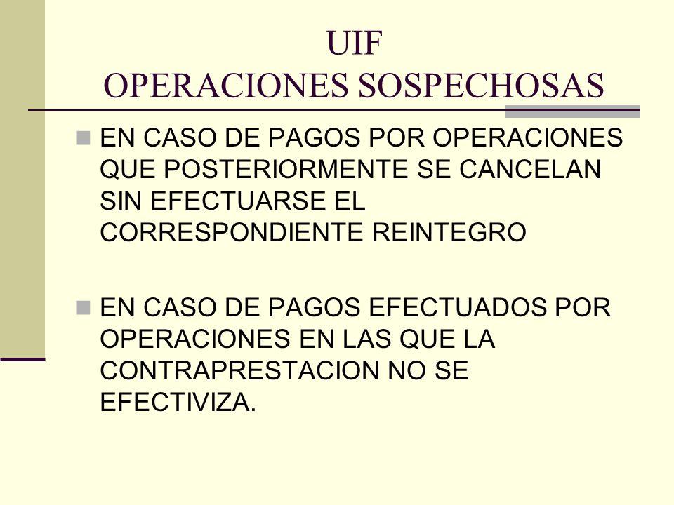 UIF OPERACIONES SOSPECHOSAS