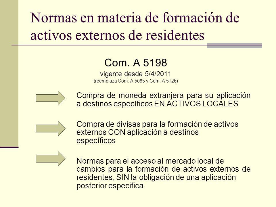 Normas en materia de formación de activos externos de residentes