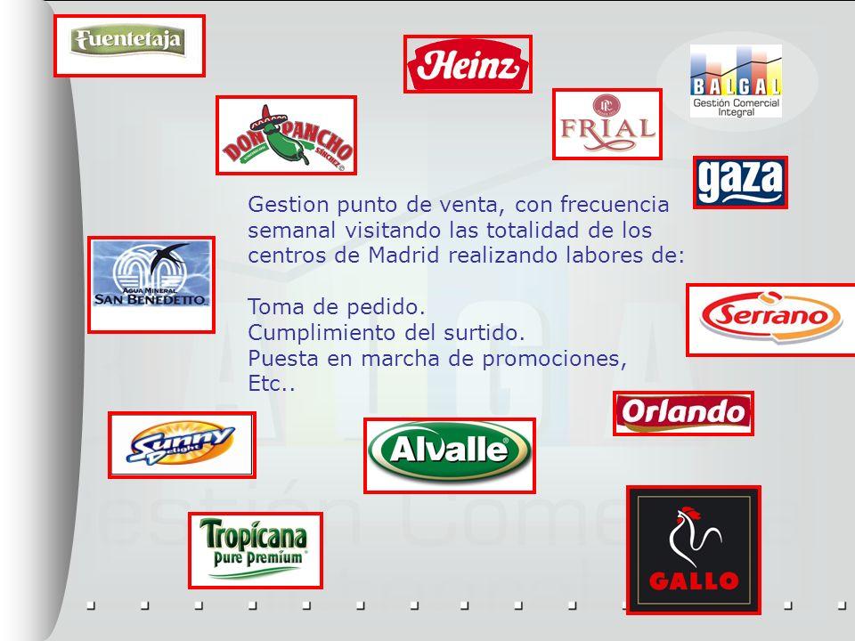 Gestion punto de venta, con frecuencia semanal visitando las totalidad de los centros de Madrid realizando labores de: