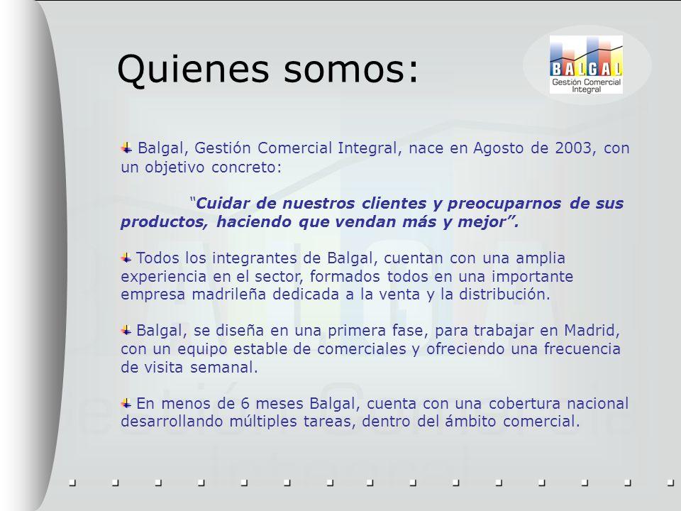 Quienes somos: Balgal, Gestión Comercial Integral, nace en Agosto de 2003, con un objetivo concreto: