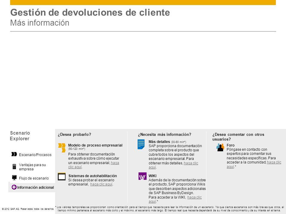 Gestión de devoluciones de cliente Más información