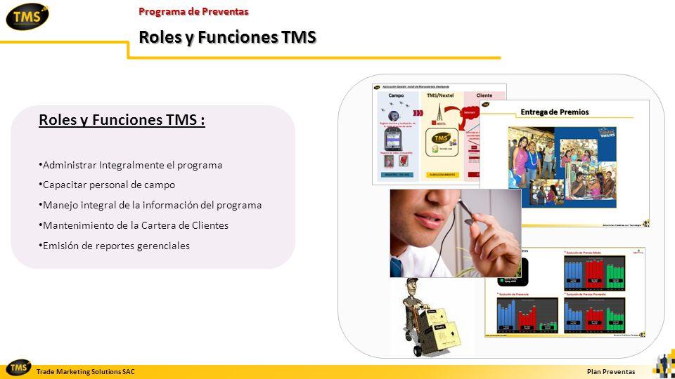 Roles y Funciones TMS Roles y Funciones TMS : Programa de Preventas