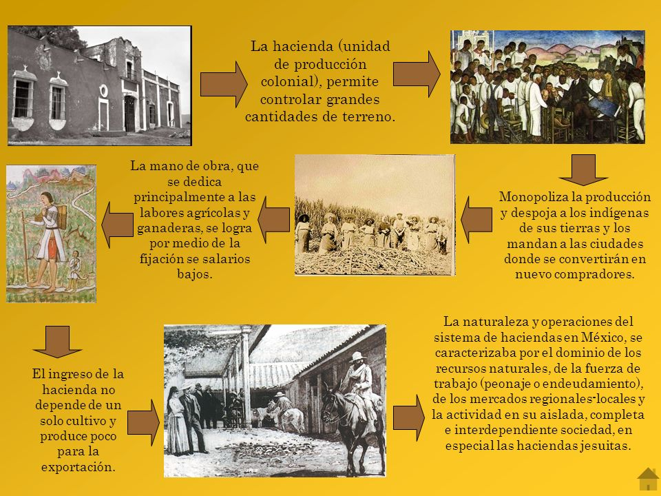 La hacienda (unidad de producción colonial), permite controlar grandes cantidades de terreno.
