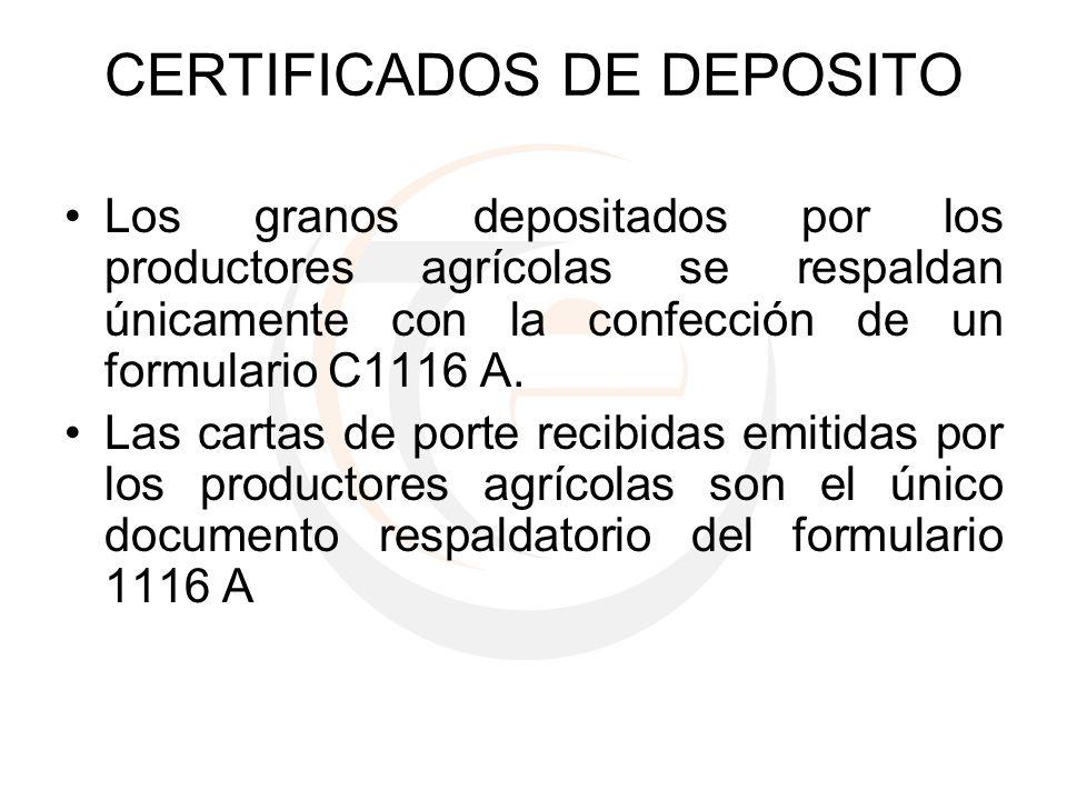 CERTIFICADOS DE DEPOSITO