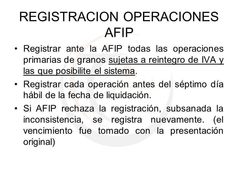 REGISTRACION OPERACIONES AFIP