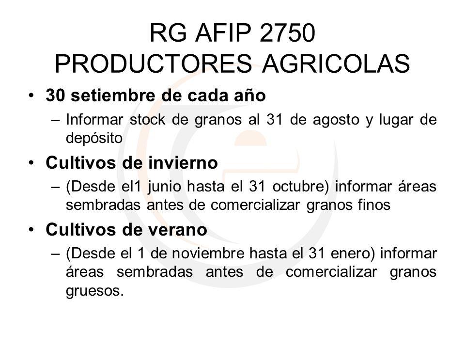 RG AFIP 2750 PRODUCTORES AGRICOLAS