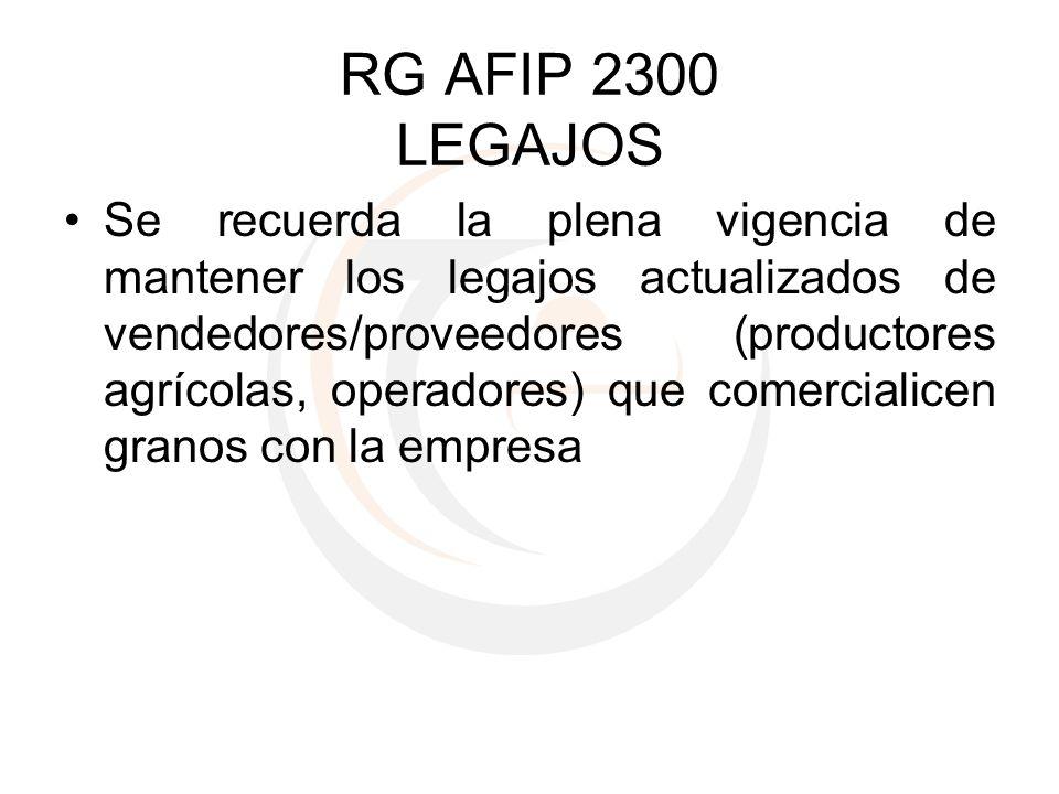 RG AFIP 2300 LEGAJOS
