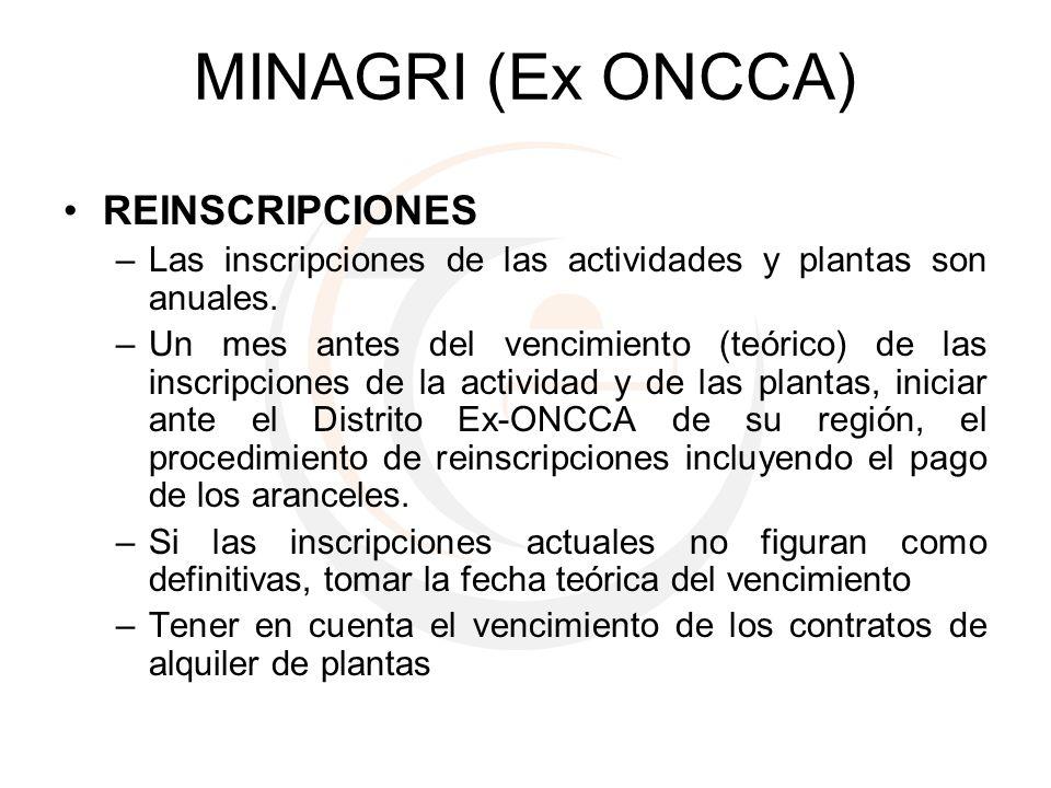 MINAGRI (Ex ONCCA) REINSCRIPCIONES