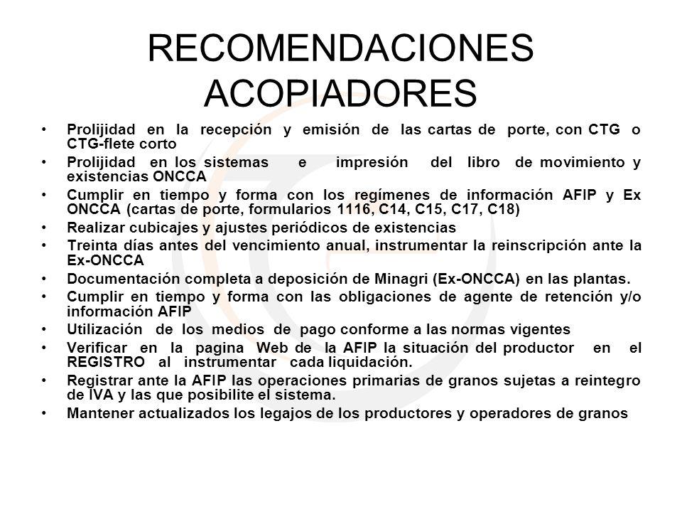 RECOMENDACIONES ACOPIADORES