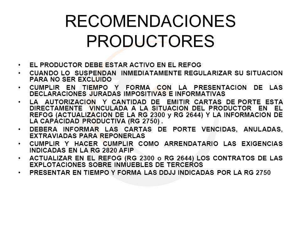 RECOMENDACIONES PRODUCTORES