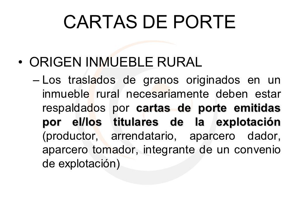 CARTAS DE PORTE ORIGEN INMUEBLE RURAL