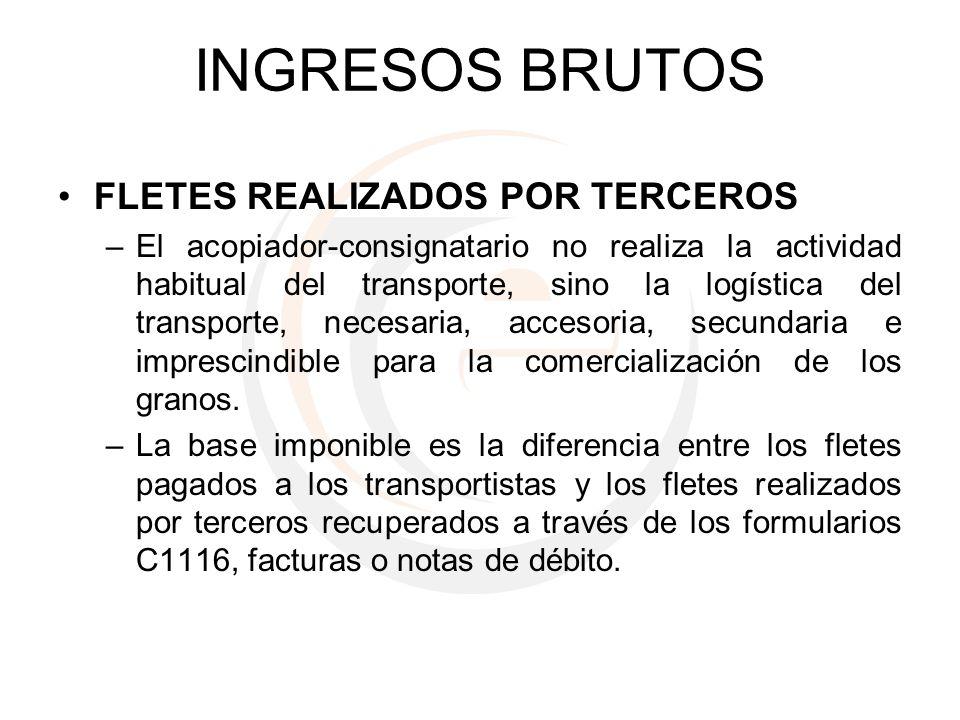 INGRESOS BRUTOS FLETES REALIZADOS POR TERCEROS