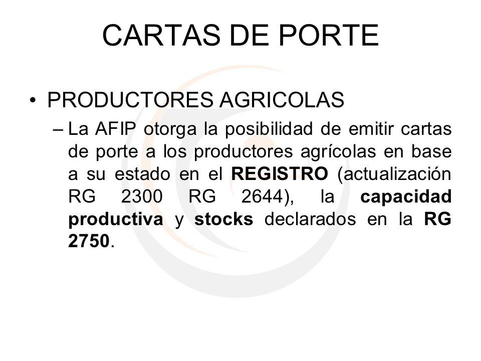 CARTAS DE PORTE PRODUCTORES AGRICOLAS