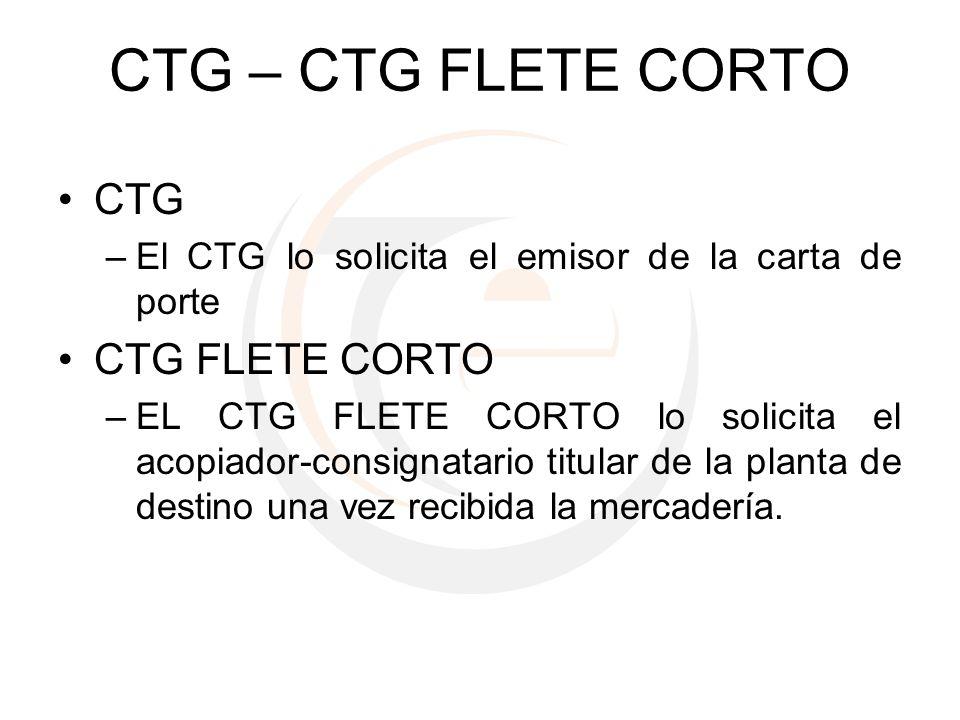 CTG – CTG FLETE CORTO CTG CTG FLETE CORTO