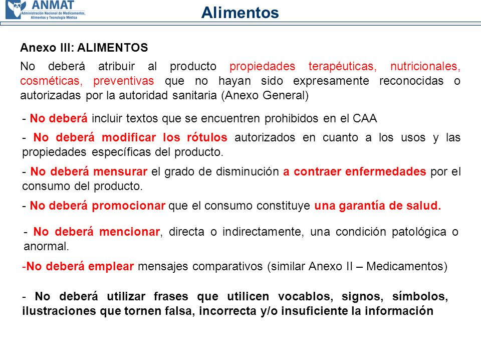 Alimentos Anexo III: ALIMENTOS