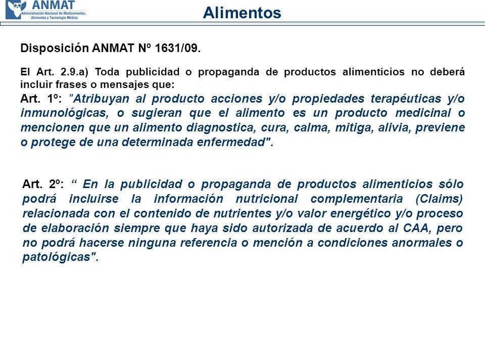 Alimentos Disposición ANMAT Nº 1631/09.