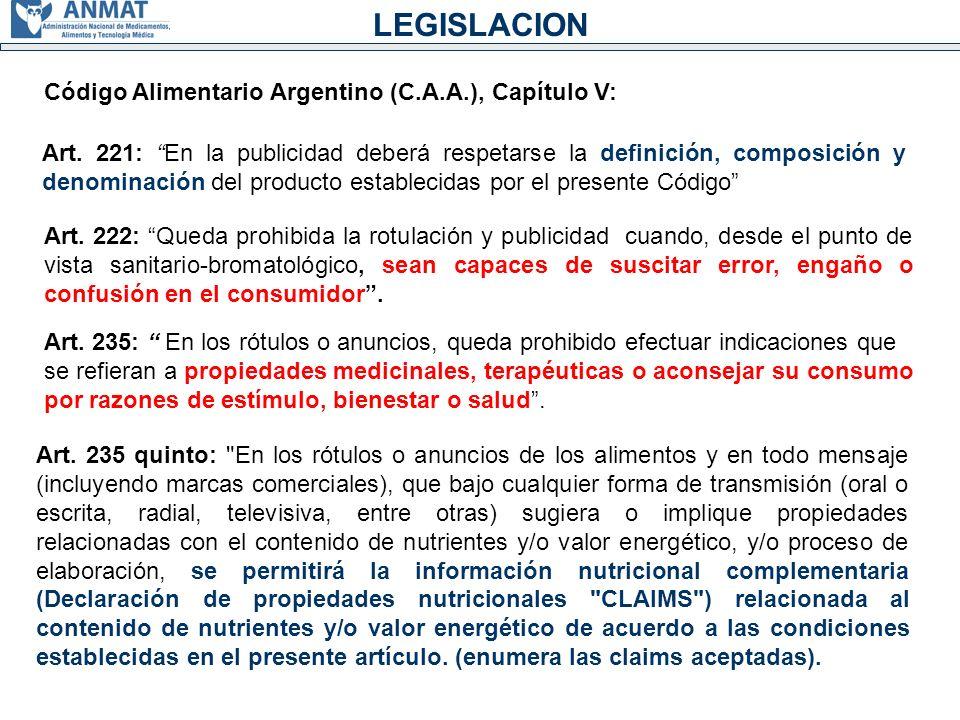 LEGISLACION Código Alimentario Argentino (C.A.A.), Capítulo V: