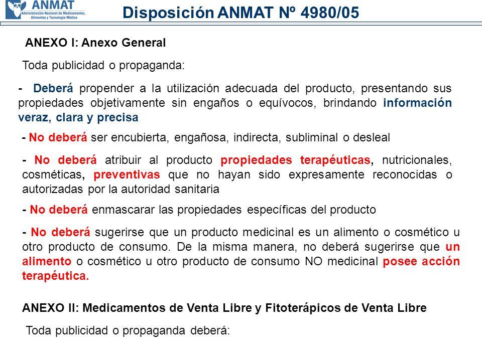 Disposición ANMAT Nº 4980/05 ANEXO I: Anexo General