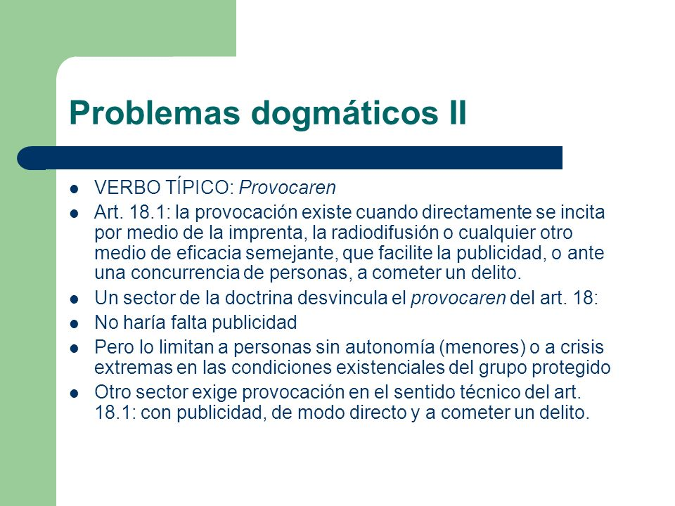 Problemas dogmáticos II