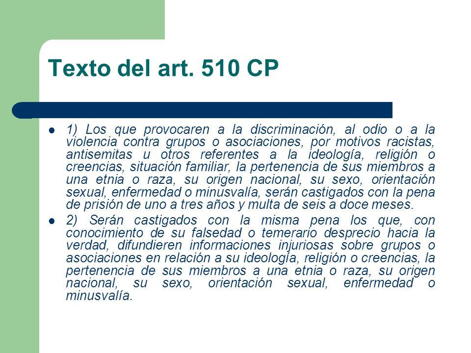 Texto del art. 510 CP