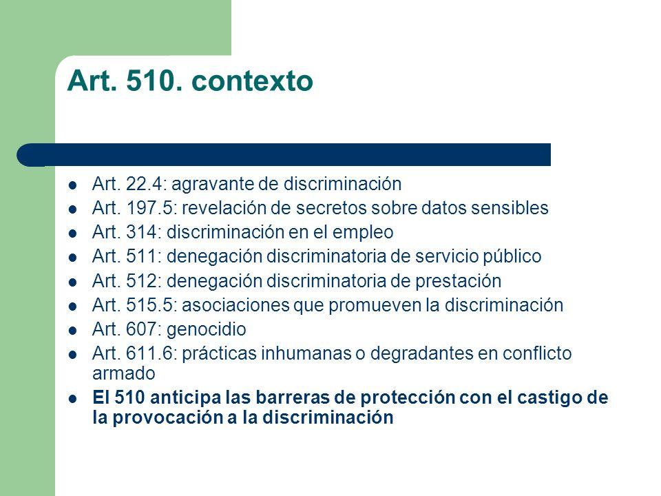 Art. 510. contexto Art. 22.4: agravante de discriminación
