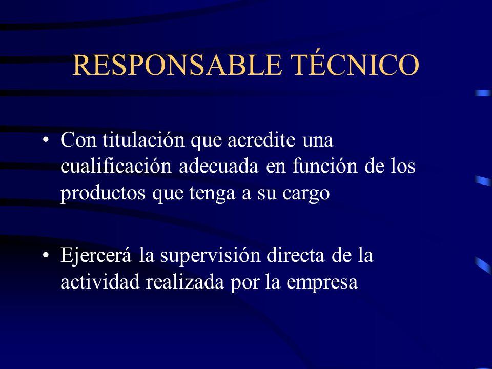 RESPONSABLE TÉCNICO Con titulación que acredite una cualificación adecuada en función de los productos que tenga a su cargo.