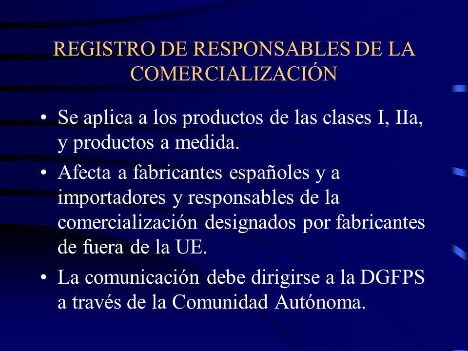 REGISTRO DE RESPONSABLES DE LA COMERCIALIZACIÓN