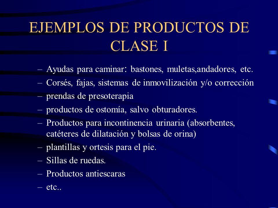 EJEMPLOS DE PRODUCTOS DE CLASE I