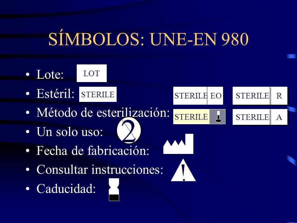 2 SÍMBOLOS: UNE-EN 980 Lote: Estéril: Método de esterilización: