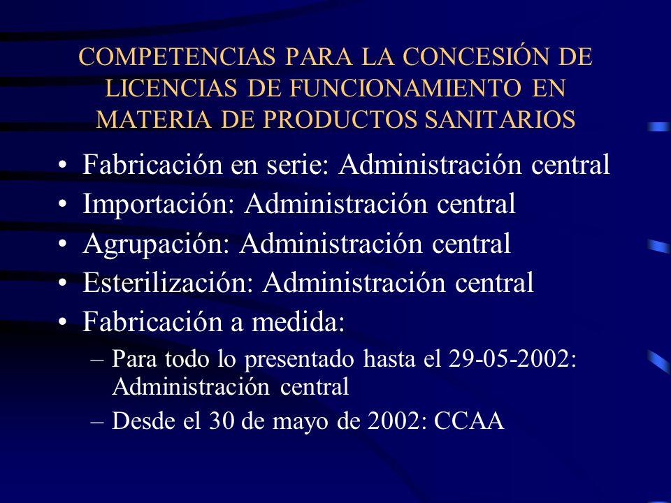 Fabricación en serie: Administración central