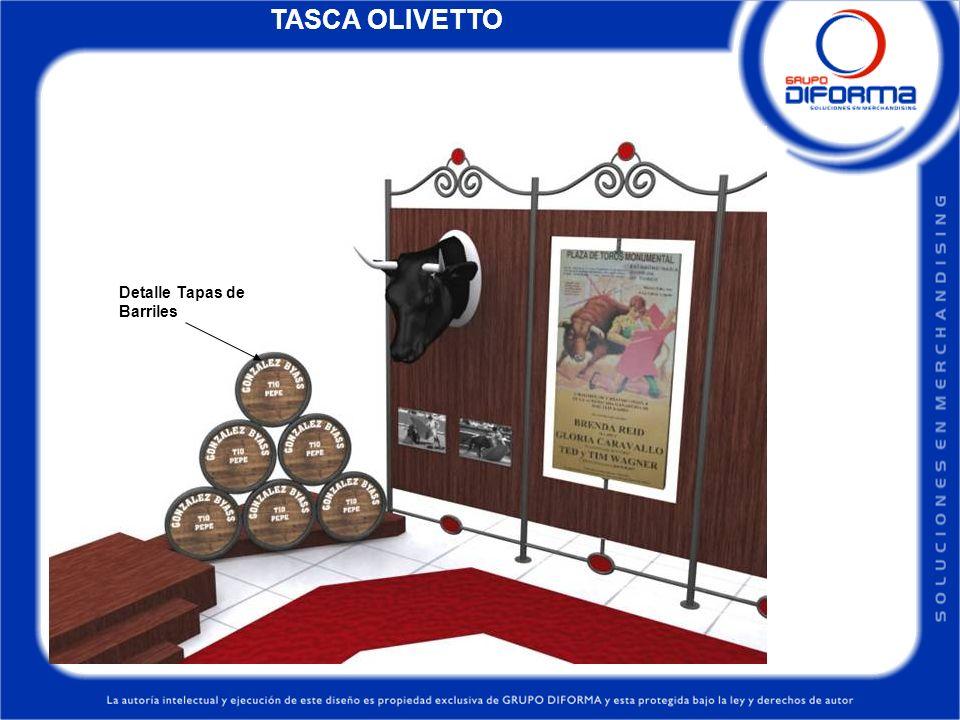 TASCA OLIVETTO Detalle Tapas de Barriles